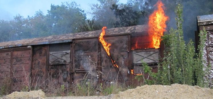 Brand eines Güterwaggons